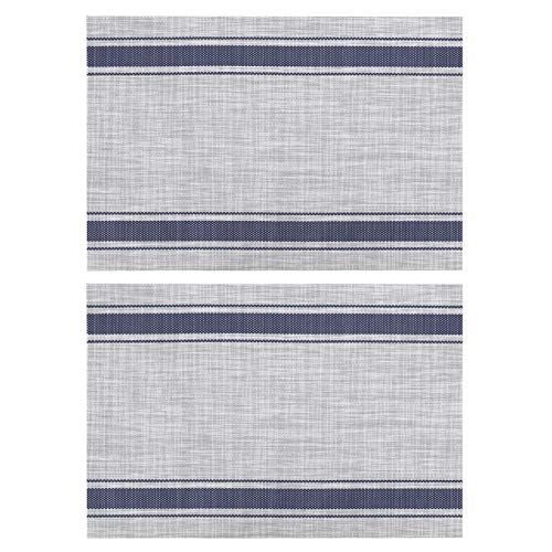 Agatige 2pcs Rectangle Placemats for Dining Table, 17.7x11.8in Stripe‑type Heat Resistant Table Mats for Home Dining and Outdoor Picnic(Blue)