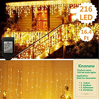 KNONEW LED Icicle Lights, 216 LEDs, 16.4ft, 8 Modes, String Fairy Light, LED String Light Wedding Party/Christmas/Halloween/Party Backdrops