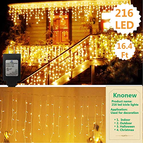 KNONEW LED Icicle Lights, 216 LEDs, 16.4ft, 8 Modes, Curtain Fairy Light, LED String Light for Wedding/Christmas/Halloween/Thanksgiving/Easter/Party Backdrops + Cable Ties (Connected in Series)