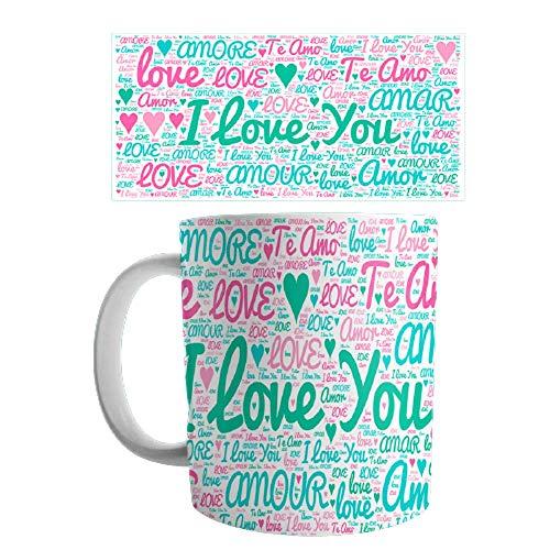 Linyatingoshop - Tazza per San Valentino, con scritta in inglese 'I Love You Love', varie lingue, idea regalo per San Valentino, San Valentino