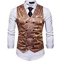 WANNEW Mens Vest Suit Vests Tuxedo Vest Vest for Men (M36 Gol)