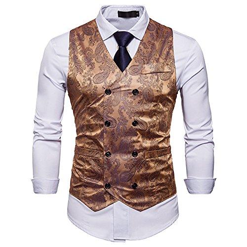 WANNEW Mens Vest Suit Vests Tuxedo Vest Vest for Men(Gold, XL)