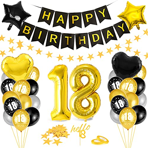 18. Geburtstag Dekoration, 18 Geburtstag Deko, 18 Jahr Geburtstagdeko,18 Ballon Schwarz Gold Deko,Luftballon 18. Geburtstag Deko,18 Geburtstag Frau,18 Geburtstag Mädchen, Deko 18 Geburtstag Jungen