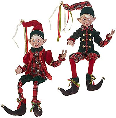 "RAZ Imports SET OF 2 Raz 30"" Red and Green Plaid Posable Elves Christmas Figures 3802259"