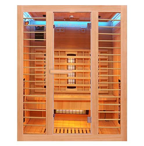 Home Deluxe – Infrarotkabine – Redsun L Deluxe - Vollspektrumstrahler und Karbon-Flächenstrahler – Holz: Hemlocktanne - Maße: 153 x 110 x 190 cm – inkl. komplettem Zubehör