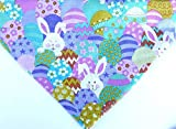 Easter dog bandana slip over the collar, assorted colorful eggs and white rabbit