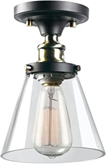 Globe Electric 65380 Jackson 1-Light Flush Mount Ceiling Light, Dark Bronze, Satin Finish, Antique Brass Accents, Clear Glass Shade