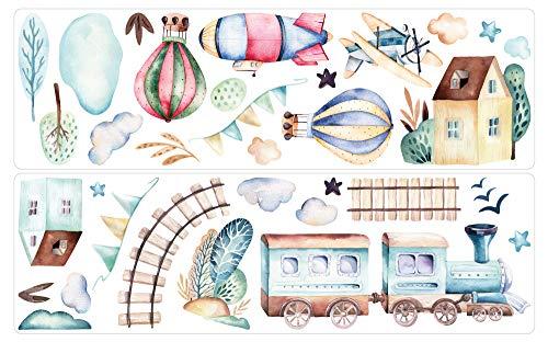 dekodino Adesivo murale Acquerello in mongolfiera locomotorio set decorazione