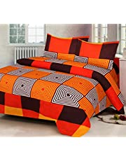 AEROHAVEN 180 TC Microfibre Double 3D Luxury Bedsheet with 2 Pillow Covers, Orange Color