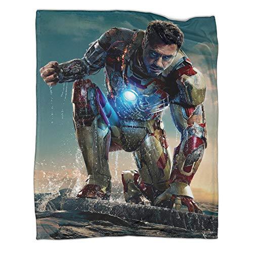 Sofá con suave manta de calor Iron Man Tony Stark apto para todas las estaciones de la temporada suave manta de microfibra (150 x 200 cm)