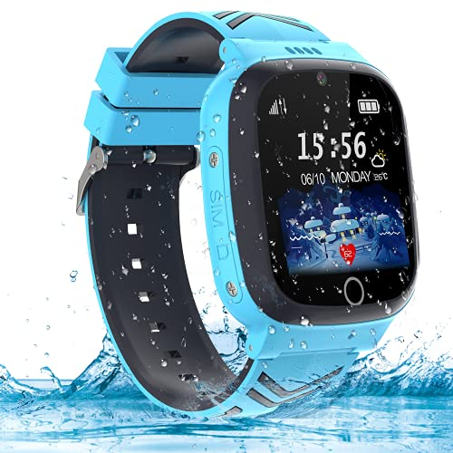 AOYMJRS Smartwatch Kinder Telefon Smart Watch Kinder Handy Uhr mit LBS Tracker Wasserdicht Touchscreen Anruf Voice Chat SOS Kamera Wecker, Geschenk für Kids Junge Mädchen Student (Blau)