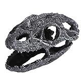 Semiter 【Venta del día de la Madre】 Decoración de Calavera de pecera, decoración de Acuario de simulación, decoración de terrario para Acuario(Horned Dragon Skull)