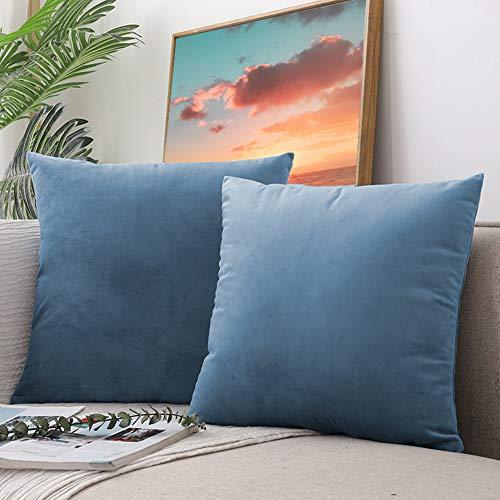 CCRoom Funda de Cojín de Terciopelo 45 x 45cm,Paquete 2 Decorativas Plaza Fundas de Almohada para Cojín con Cremallera Oculta 18x18in(Agua Azul)