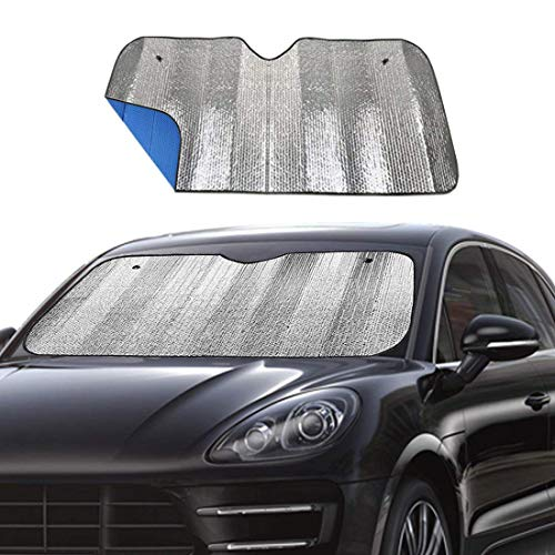 Windshield Sunshade Car Foldable UV Ray Reflector Auto Front Window Sun Shade Visor Shield Shade,Keeps Vehicle Cool - Blue (55' x 27.5')