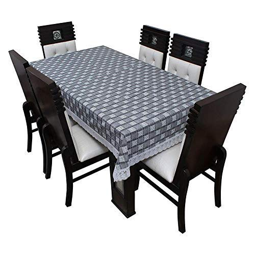 Kartikey PVC 4 to 6 Seater Checkered Design Center Table Cover Waterproof Cloth Size 54×78 inches Grey Color with White Lace – Rectangular Shape