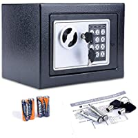 Homdox Fireproof Home Digital Security Safe Box Wall with Lock for Jewellery Money Valuables (Black)