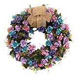 U'Artlines 15'' Artificial Wreath Hanging Rose Garland Swag for Indoor Outdoor Window Wall Wedding Party Decoration (Floral Wreath, 15'' Rose Blue/Purple)