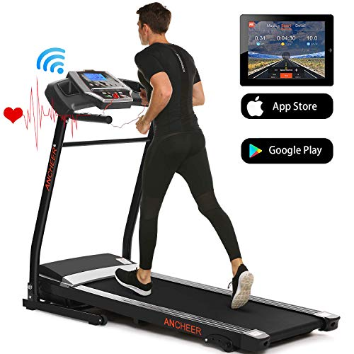 ANCHEER Treadmills for Home Running Machine with Incline - Folding Treadmill Electric Motorized Power with 12 Preset Programs & Smartphone APP Control, Cardio Workout Gym Exercise Equipment Treadmills