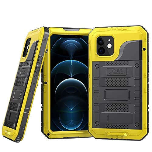 Impermeable Funda para iPhone Mini/12/12 Pro/12 Pro MAX [Sumergible] Carcasa Resistente Reforzada Metálica Grado Militar Anti-rasguño Cover con Protector de Pantalla,Yellow,iPhone12