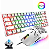 60% Mechanical Gaming Keyboard Blue Switch Mini 68 Keys Wired Type C 18 Backlit Effects,Lightweight RGB 6400DPI Honeycomb Optical Mouse,Gaming Mouse pad for Gamers and Typists (White)