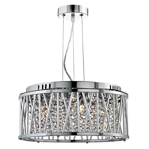 Searchlight Elise - Lámpara colgante de techo con 4 luces, cromada con cristales, G9