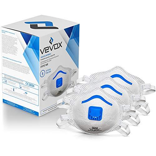 VEVOX® FFP3 Masken *NEU* - Im 5er Set - mit Komfort Plus Abdichtung - Atemschutzmaske FFP3 mit Ventil - CE Zertifiziert für den zuverlässigsten Schutz