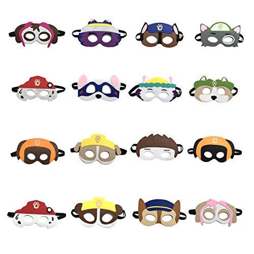 NAXIEE 16 Stück Paw Dog Patrol Masken Spielzeug Puppy Party,Kinder Cosplay Masken,Maskerade Halloween Dress Up Party Supplies für Kinder und Erwachsene