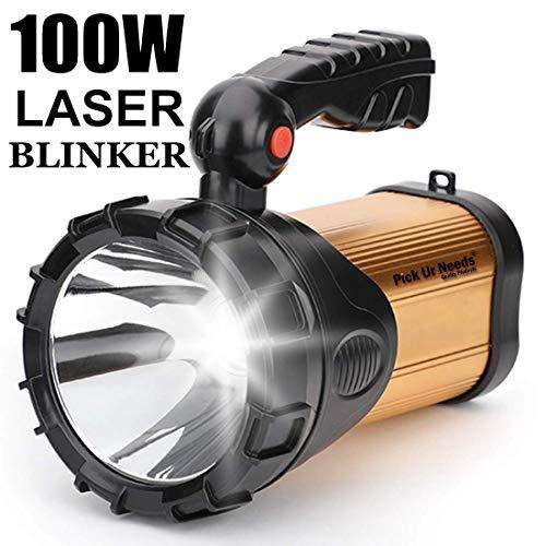 Pick Ur Needs™ Rocklight Metal 100w Rechargeable Waterproof Bright Led Torch Light Laser Long Range Distance High Power Search Light Kisan Rechargable Emergency Lights(Multi-Color) (Cut Handel)