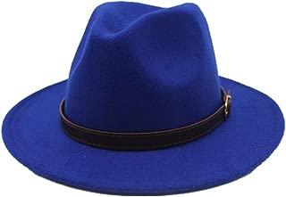 SGJFZD Men Women Fashion Wool Fedora Hat Autumn Travel Church Casual Hat Pop Wild Fascinator Hat Size 56-58CM (Color : Blue, Size : 56-58)