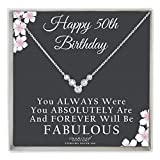 50th Birthday Gifts For Women Sterling Silver 5 Stones For 5 Decades Necklace with Fabulous Keepsake Card