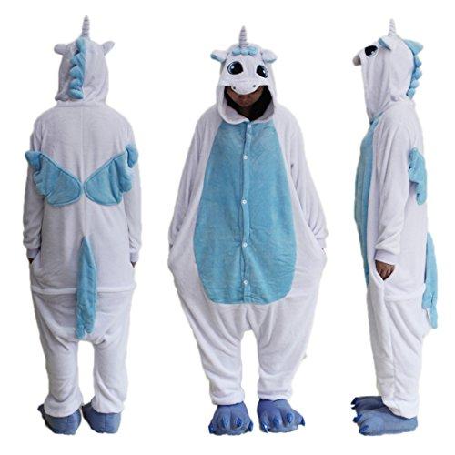 Black Sugar Idée Mardi Gras/ L Bleu Licorne - Kigurimi Pyjama Grenouillère Animaux Combinaison pour Adulte & Adolescent Unisexe en Peluche Doux Confortable (L : 164-168cm, Bleu)