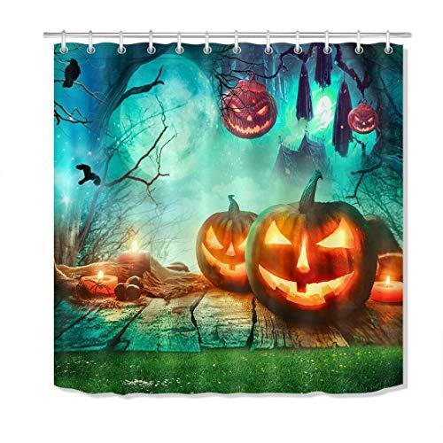 Gruselige Halloween Wald Holzbohlen Kürbis Duschvorhang Set Badezimmer Dekor