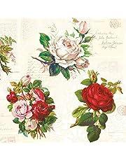 20 servilletas vintage con rosas inglesas, flores | manualidades | técnica de servilletas, 33 x 33 cm