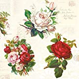 20 tovaglioli con rose inglesi vintage | fiori | bricolage | tecnica del tovagliolo 33 x 33 cm