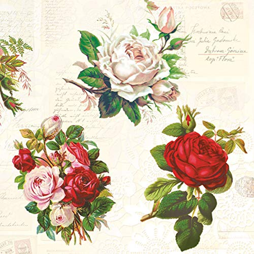 20 Servietten Englische Rosen Vintage | Blumen | basteln | Serviettentechnik 33x33cm
