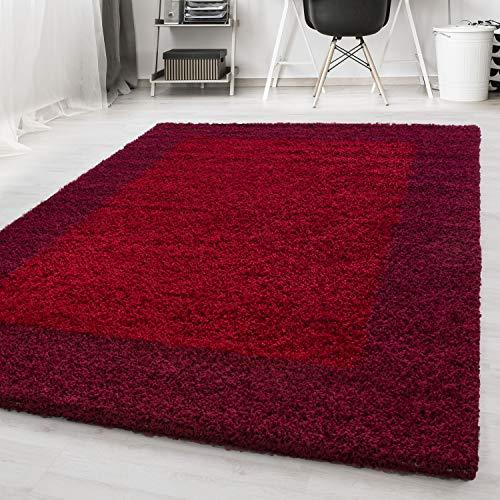 Ayyildiz Wunderschöne Gemusterte Bordüre Shaggy Teppich Hochflor Langflor Flokati 30 mm Größen Viereck Öko-Tex 100 Standart, Größe:160 x 230 cm, Farbe:Rot