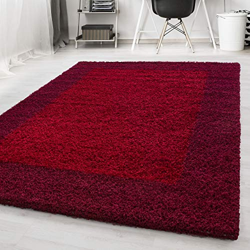 Ayyildiz Wunderschöne Life Shaggy Hochflor Langflor Shaggy Teppich Gemusterte Bordüre, Farbe:Rot, Größe:240 x 340 cm