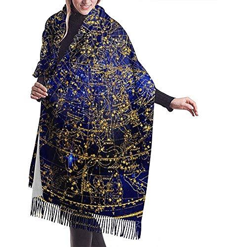 Elaine-Shop Imitate Cashmere Winter Schal Pashmina Schal Wraps Blanket Schals Elegant Wrap Für Frauen Northern Hemisphere Constellations Antique