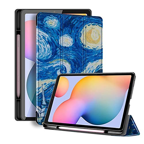 HHF Tab Accessories For Samsung Galaxy Tab S6 Lite 10.4 SM P610 SM P615, Pencil Holder Case Cover Soft TPU Protective Shell/skin Case for Samsung Galaxy Tab S6 Lite 10.4 (Color : Sky pen holder)