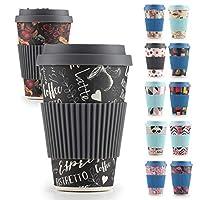 rosmarino tazza da viaggio, 400ml - bamboo cup da materiali naturali - tazza bamboo con coperchio in silicone e banner (black coffee)