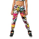 Alexandra Collection Womens Pow! Pop Art Printed Athletic Workout Leggings Pink Medium