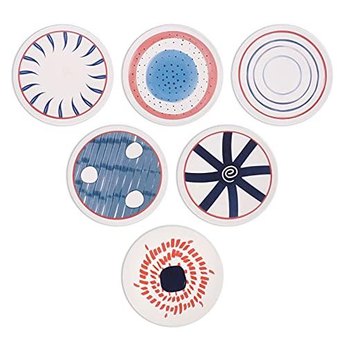SAWADA Sottobicchieri in ceramica assorbente, per tazze e bicchieri, 10 cm, 6 pezzi, design greco rustico, bianco