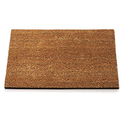 Felpudo de coco natural, 50 x 90 cm, parte trasera de goma antideslizante, alfombra de entrada, modelo Coco a medida 50 x 90 cm