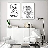 バスルームキャンバス絵画バブルパス引用キャンバスアートポスター黒と白のシャワー画像ファッションガールプリント壁の装飾70x100cmx2フレームレス