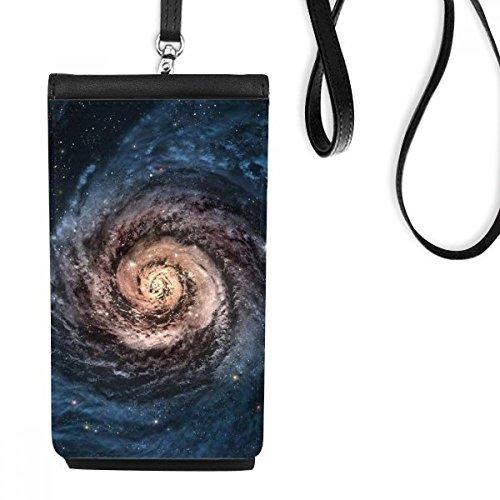 DIYthinker Red to Blue Whirlpool-Nebel und Nebel Partikel Illustration Muster Kunstleder Smartphone hängende Handtasche Schwarze Phone Wallet Geschenk