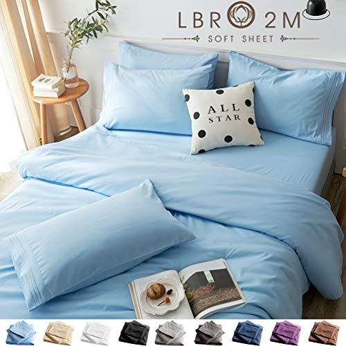 LBRO2M Bed Sheets Set Twin Size 4 Piece 16 Inches Deep Pocket 1800 Thread Count 100% Microfiber Sheet,Bedding Super Soft Hypoallergenic Breathable,Resistant Fade Wrinkle Cool Warm (Lake Blue)