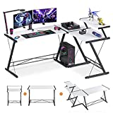 Extra Large L Shaped Desk L Desk Gaming Computer Corner Desk with Round Corner with Monitor Stand for Gaming Desk Home Office Writing Workstation, White