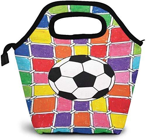 Football Art Insulated Lunch Bag Benutzerdefinierte Bento Box Picknickkühler Tragbare Handtasche Lunch Einkaufstasche für Frauen Mädchen Männer Jungen
