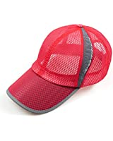 Men's Summer Outdoor Sport Outdoor Sports Mesh Hat Running Visor Sun Cap Red