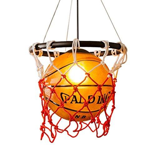 Lámpara moderna retro del baloncesto del viento industrial, lámpara de cristal simple E27 creativo restaurante dormitorio bar tienda ropa tienda personalidad arte baloncesto luminaria AC110-220V